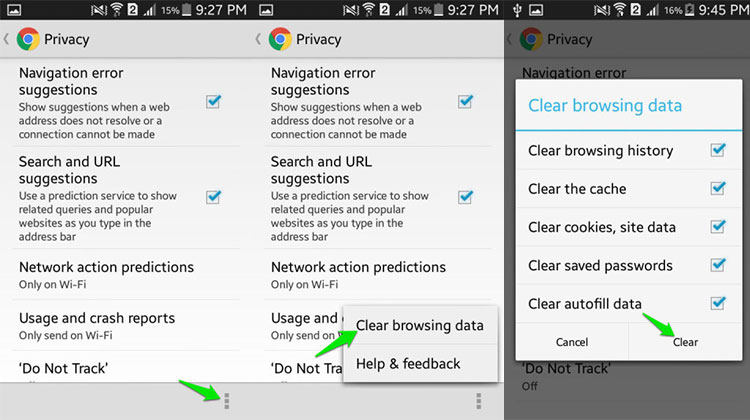 Clear Chrome Data on Android