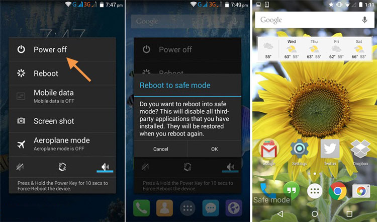 Android Reboot to Safe Mode