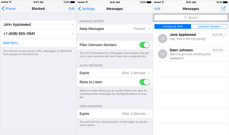 Block Messages on iPhone