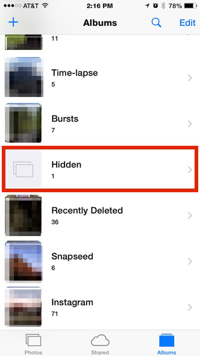 Hidden photos in iOS Albums
