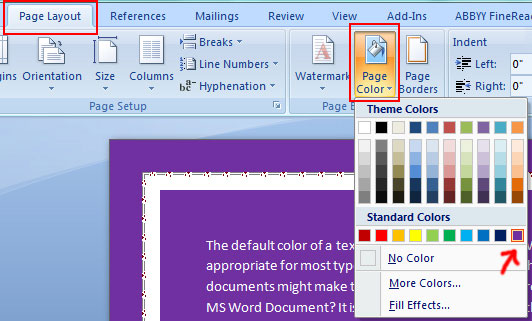 Background Color in Word