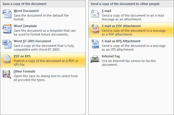 Save Word Document as PDF