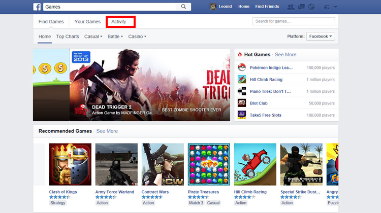 Facebook Games Section