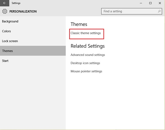 Theme Settings in Windows 10