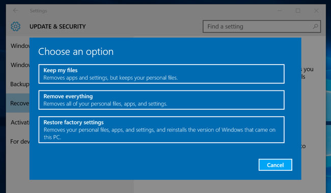 Windows 10 Reset and Remove Everything