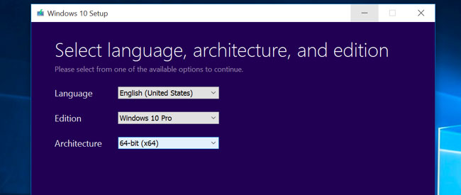 Windows 10: Language & Edition