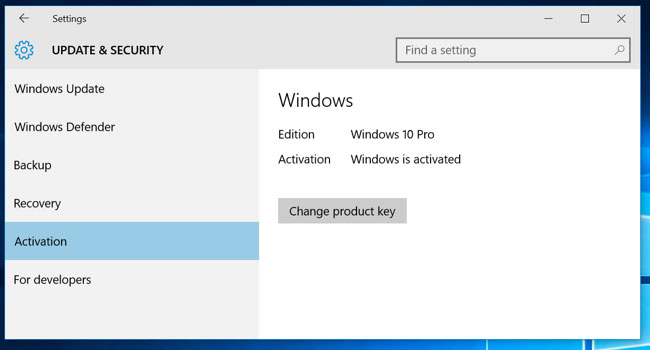 Windows 10 Activation Panel