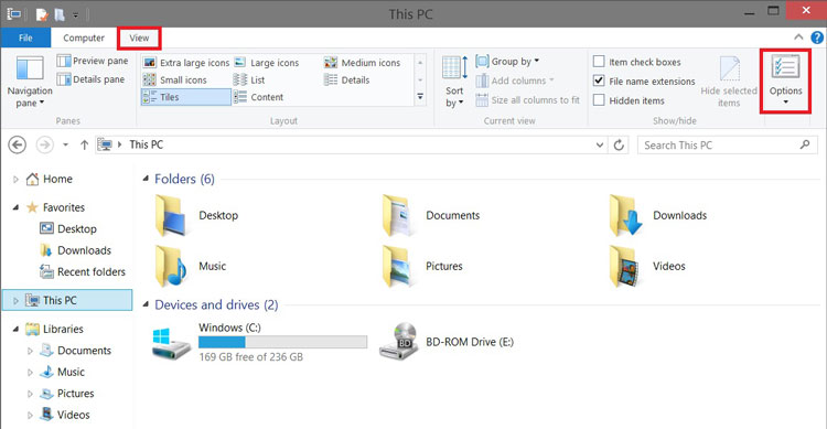 Open View Tab in File Explorer