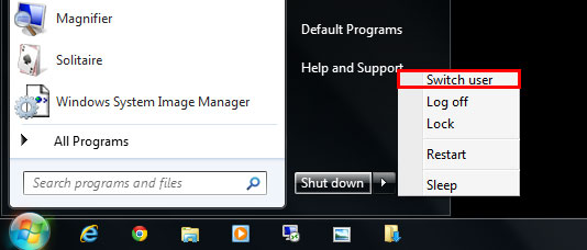 Switch User in Windows 7 from Start Menu