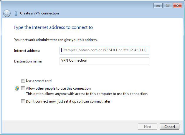 Outgoing VPN Connection on Windows 7