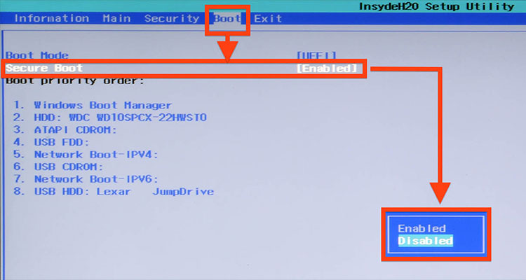 Disable UEFI Secure Boot in Windows 8